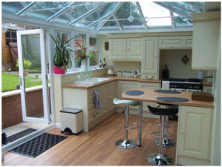 fiited kitchens inside a conservatory